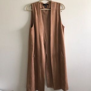 Suede sleeveless duster